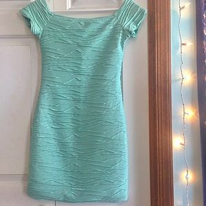 Dresses & Skirts - Mint Green Mini Dress with Silver Shine